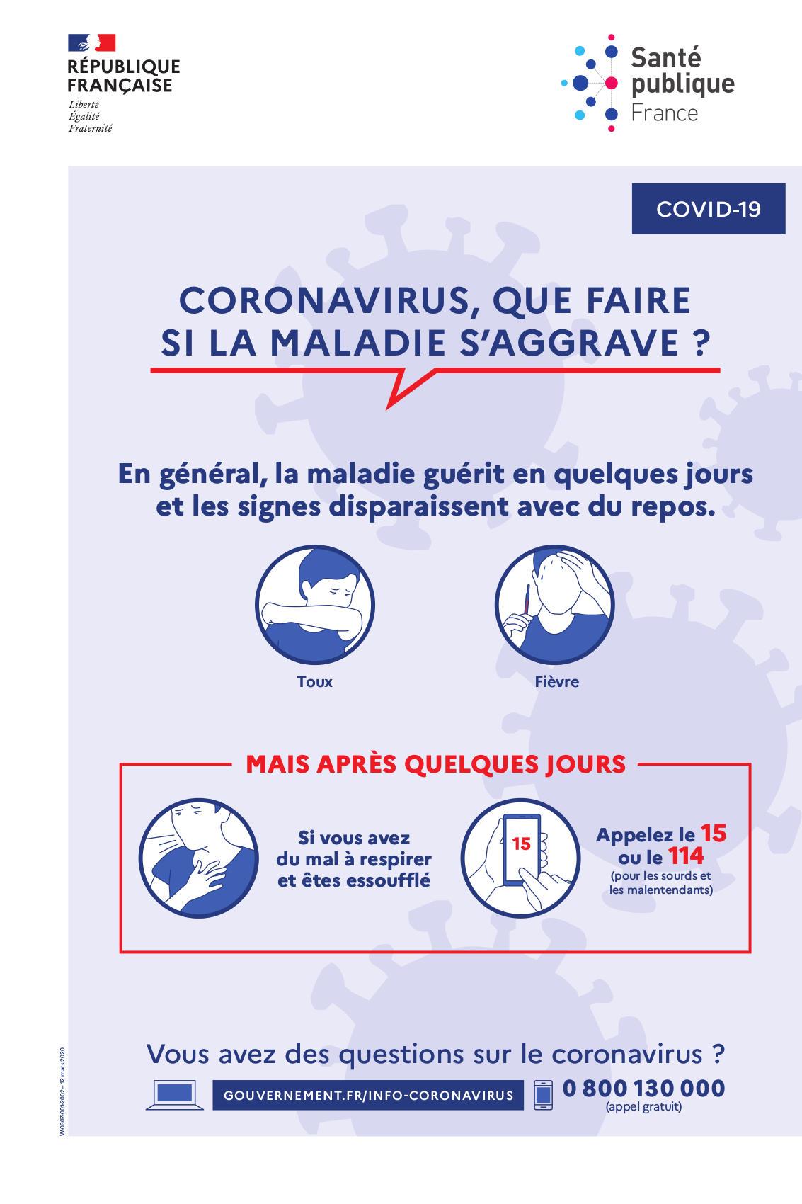 Affiche Coronavirus signes graves