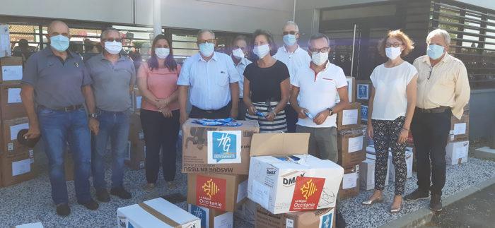 don de masques par le département et la région